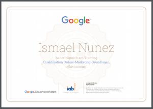 Google Zertifikat - Ismael Nunez